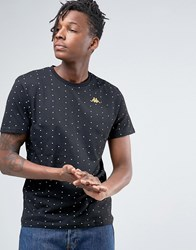 Kappa T Shirt With All Over Spot Print Black