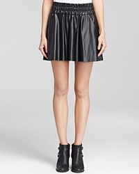Pam And Gela Skirt Faux Leather High Waist Skater Black