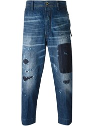 Diesel Loose Fit Cropped Distressed Jeans Blue