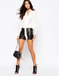 Mango Leather Look Zip Detail Short Black