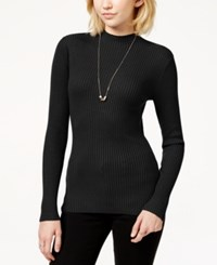 It's Our Time Juniors' Rib Knit Fine Gauge Pullover Sweater Black