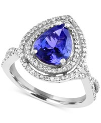 Effy Collection Tanzanite Royale By Effy Tanzanite 2 1 10 Ct. T.W. And Diamond 1 2 Ct. T.W. In 14K White Gold