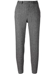 Red Valentino Herringbone Classic Trousers Black