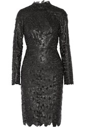 Mikael Aghal Laser Cut Faux Leather Dress Black