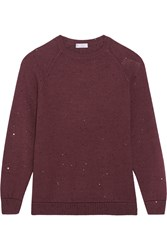Brunello Cucinelli Sequin Embellished Cashmere And Silk Blend Sweater Merlot