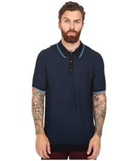 Ben Sherman Short Sleeve Texture Micro Jacquard Polo Canal Blue Men's Clothing