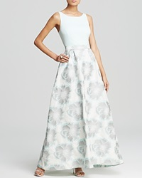 Aidan Mattox Gown Sleeveless Printed Taffeta Skirt