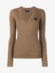 Rochas Wool Cashmere Blend Ribbed Sweater Camel White