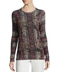 Minnie Rose Long Sleeve Crewneck Python Print Top French Gre