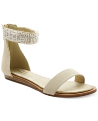 Nanette By Nanette Lepore Marianne Embellished Ankle Strap Flat Sandals Women's Shoes White