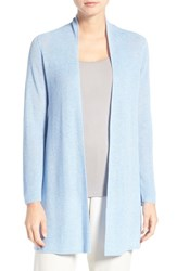 Eileen Fisher Petite Women's Rib Knit Straight Open Front Cardigan Morning Glory
