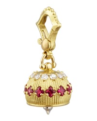 18K Diamond Ruby Meditation Bell Pendant 12Mm Paul Morelli