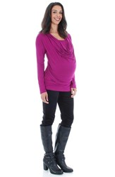 Women's Everly Grey 'Kristina' Cowl Neck Maternity Nursing Top
