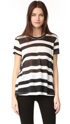 Wilt Seamed Linen Baby Tee Black White