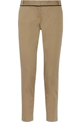 Maje Stretch Cotton Straight Leg Pants Nude