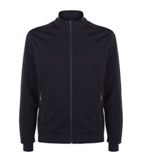 Z Zegna Leather Detail Sweatshirt Male Navy
