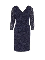 Gina Bacconi Antique Corded Lace Wrap Dress Navy