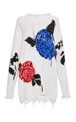 Msgm White Distressed Macro Floral Tunic Ivory