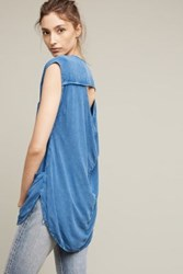 Anthropologie Lodge Open Back Tunic Blue