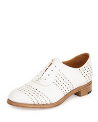 The Office Of Angela Scott Mr. Smith Perforated Leather Oxford White Rose Gold Women's