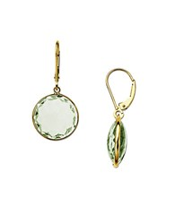 Lord And Taylor Green Amethyst Drop Earrings In 14 Kt. Yellow Gold Green Amethyst Gold