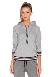 Trina Turk Fleece Hooded Sweatshirt Gray