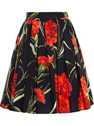 Dolce And Gabbana Rose Print Skirt Red