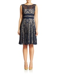 Maggy London Lace Fit And Flare Dress Marine Navy