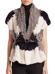 Vince Colorblock Rabbit Fur Vest Light Grey