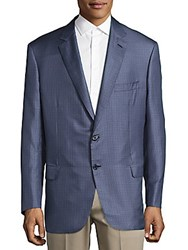 Brioni Checkered Long Sleeve Blazer Sky Blue