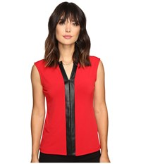 Calvin Klein Sleeveless Top W Faux Leather And Chain Rouge Women's Sleeveless Red