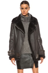 Acne Studios Velocite Shearling Jacket In Gray