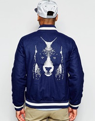 Supreme Being Supremebeing Varsity Jacket With Embroidered Back Print Navy