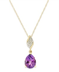 Macy's Amethyst 1 1 2 Ct. T.W. And Diamond Accent Pendant Necklace In 10K Gold Yellow Gold