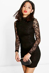 Boohoo Eve All Over Lace High Neck Bodycon Dress Black