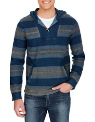 Lucky Brand Striped Hooded Pullover Blue