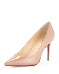 Christian Louboutin Decollete 85Mm Patent Leather Red Sole Pump Nude Women's Size 38.5B 8.5B