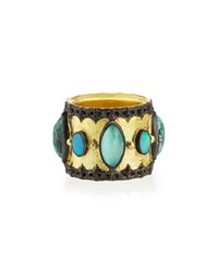 Green Turquoise And Opal Band Ring Armenta
