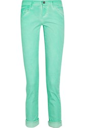 Gold Sign Jenny Cropped High Rise Skinny Jeans Green