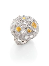 Coomi Silver Opera Diamond Rock Crystal 20K Yellow Gold And Sterling Silver Dome Ring Silver Gold