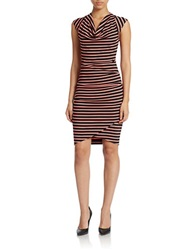 Nicole Miller Stripe Surplice High Low Dress Coral Black