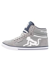 Drunknmunky Boston Classic Hightop Trainers Grey Navy Blue