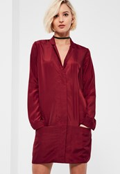 Missguided Burgundy Pocket Zip Front Shirt Dress