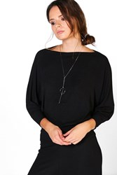 Boohoo Rib Batwing Sweat Black