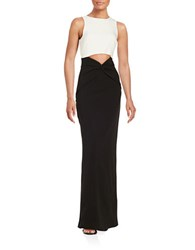 Nicole Miller Contrast Cutout Gown White Black