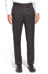 Men's Big And Tall Di Milano Uomo Flat Front Plaid Wool Trousers Black