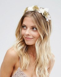 Asos Flower And Leaf Headband Fascinator Gold