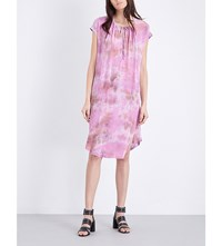 Raquel Allegra Tie Dye Print Silk And Jersey Dress Fuchsia Tie Dye