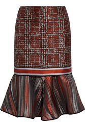 Ostwald Helgason Metallic Silk Jacquard And Tweed Skirt Red