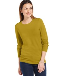Jm Collection Crew Neck Solid Button Sleeve Sweater Urban Green